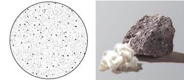 拡大写真。表面に無数の吸音穴がある(左) 不燃性が高い基材の「ダイロートン」(右)