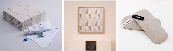 (左から)「エコカラット DIY」同梱内容、「エコカラット ウォールキャンバス」の施工例、「エコカラット フォーシューズ」